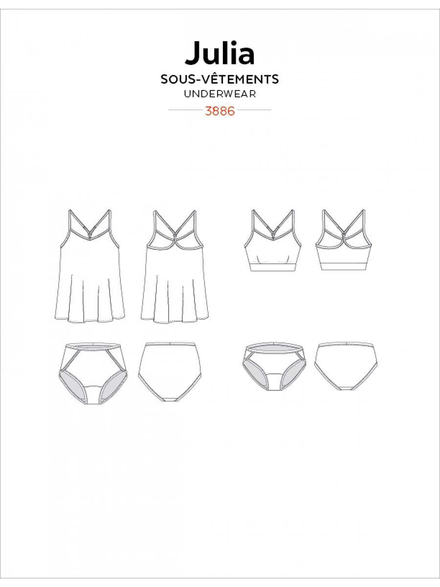 Patron de haut à bretelles fines, soutien-gorge et culotte Julia - Jalie 3886