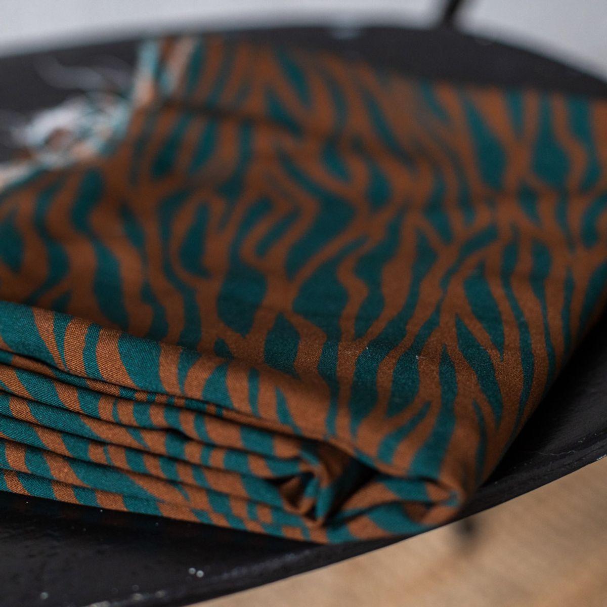 Tissu viscose - Zèbre sarcelle et rouille